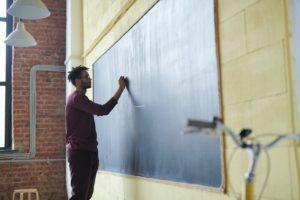 黒板に文字を書く男性教師