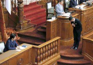 喪服姿で安倍総理に合掌する山本太郎