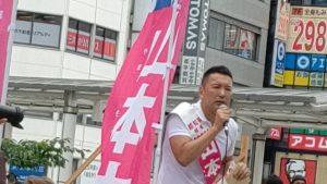 立川で演説する山本太郎
