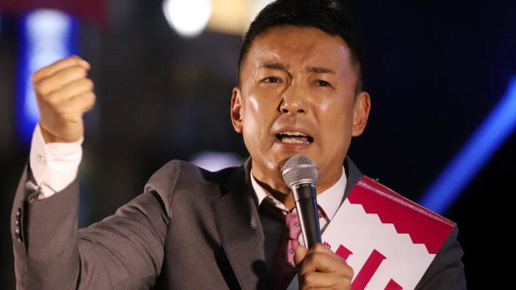 街頭演説で力説する山本太郎