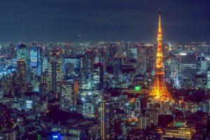 東京タワーと東京都内の夜景