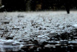 水溜りの上に降る雨粒